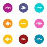 Tropical fish icons set, flat style. Tropical fish icons set. Flat set of 9 tropical fish vector icons for web isolated on white background Stock Photography
