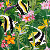 Tropical Fish, Palm Leaves and Flowers, Jungle Leaves Seamless Floral Pattern Background. Tropical Fish, Palm Leaves and Flowers, Jungle Leaves Seamless Vector Stock Photos