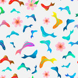 Tropical fish seamless pattern. With flowers Royalty Free Stock Photography