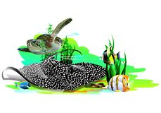 Tropical fish, slope and sea turtle. Vector. stock illustration