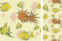 Tropical fish swim under water. Illustration for design Stock Photography