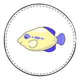 Tropical fish Triggerfish isolated on white background. Cute coral fish cartoon  illustration. Underwater animal patch. Aquarium fish drawing. Tropical sea Royalty Free Stock Photos