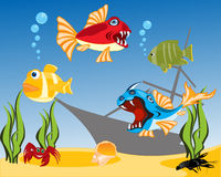 Tropical fish in water. Vector illustration of tropical fish and bottom of the ocean Royalty Free Stock Photo