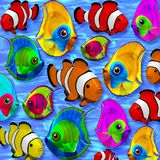 Tropical Fishes 3D on Blue Clear Water Stock Image