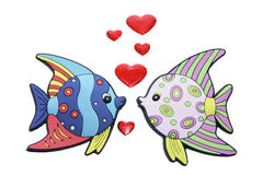 Tropical Fishes with Love Hearts Stock Images