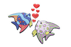Tropical Fishes and Love Hearts Royalty Free Stock Photography