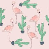 Tropical Flamingo Bird and Cactus Background. stock illustration