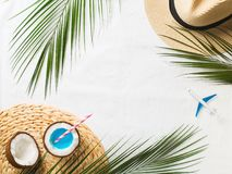 Tropical flat lay with blue cocktail in coconut. Tropical flat lay with palm leaves and blue cocktail in coconut on white background stock photo