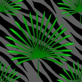 Tropical palm leaves jungle on tiger fur seamless vector pattern background. Tropical flora banana palm leaves jungle on tiger or porpoising fur skin exotic vector illustration