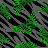 Tropical palm leaves jungle on tiger fur seamless vector pattern background. Tropical flora banana palm leaves jungle on tiger or porpoising fur skin exotic royalty free illustration