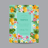 Tropical Floral Frame - for celebration Royalty Free Stock Photo