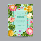 Tropical Floral Frame Royalty Free Stock Photography