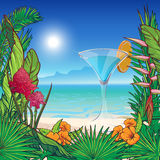 Tropical Floral frame and panorama vector illustration