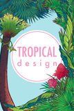 Tropical Floral Frame vertical Royalty Free Stock Photos