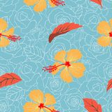 Tropical floral and leaves seamless pattern on pastel roses background for decorative,fashion,fabric,textile,print or wallpaper vector illustration