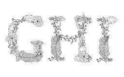 Tropical floral . Letter G,H,I. Tropical floral summer pattern hand drawn ornamental font set with palm beach leaves, flower. Letter G,H,I Stock Image