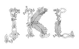 Tropical floral . Letter J,K,L. Tropical floral summer pattern hand drawn ornamental font set with palm beach leaves, flower. Letter J,K,L Stock Photo
