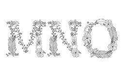 Tropical floral . Letter M,N,O. Tropical floral summer pattern hand drawn ornamental font set with palm beach leaves, flower. Letter M,N,O Stock Photography