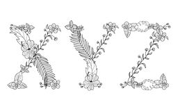 Tropical floral . Letter X,Y,Z. Tropical floral summer pattern hand drawn ornamental font set with palm beach leaves, flower. Letter X,Y,Z Royalty Free Stock Photography