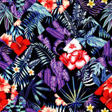Tropical floral patchwork trendy seamless background royalty free illustration