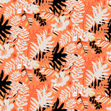 Tropical floral pattern. Vector seamless pattern with leafs and flowers inspired by tropical nature and plants like palm trees and ferns in bright colors for Royalty Free Stock Photos