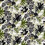 Tropical floral pattern. Vector seamless pattern with leafs and flowers inspired by tropical nature and plants like palm trees and ferns in bright colors for Royalty Free Stock Images