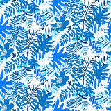 Tropical floral pattern. Vector seamless pattern with leafs and flowers inspired by tropical nature and plants like palm trees and ferns in bright colors for Stock Image