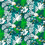Tropical floral pattern. Vector seamless pattern with leafs and flowers inspired by tropical nature and plants like palm trees and ferns in bright colors for Stock Photography