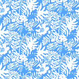 Tropical floral pattern. Vector seamless pattern with leafs and flowers inspired by tropical nature and plants like palm trees and ferns in bright blue color for Stock Photography