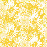 Tropical floral pattern. Vector seamless pattern with leafs and flowers inspired by tropical nature and plants like palm trees and ferns in bright colors for vector illustration