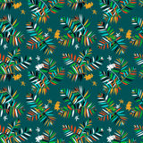Tropical floral pattern. Vector seamless pattern with leafs inspired by tropical nature and plants like palm trees and ferns in cool organic green colors for Stock Image