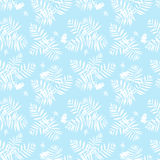 Tropical floral pattern. Vector seamless pattern with leafs inspired by tropical nature and plants like palm trees and ferns in soft blue and white colors. Print Royalty Free Stock Photos