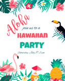 Tropical Floral Poster With Toucan And Flamingo - For Invitation, Wedding, Baby Shower Card Royalty Free Stock Images