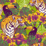 Tropical floral seamless background with Tiger Stock Image