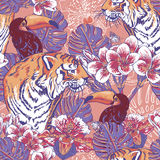 Tropical floral seamless background with Tiger Royalty Free Stock Image
