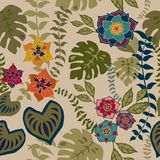 Tropival Floral Seamless Pattern, Autumn flowers Surface Pattern Background Romantic Floral Repeat Pattern for textile design royalty free illustration