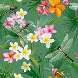 Tropical Floral Seamless Pattern with Dragonflies. Botanical Background with Palm Tree Leaves and Exotic Flowers. For Wallpapers and Fabric. Vector illustration Royalty Free Illustration