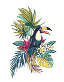 Tropical floral summer beach party card with palm beach leaves, Stock Photos