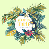 Tropical floral summer beach party invitation with palm beach le Royalty Free Stock Photos