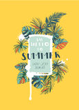 Tropical floral summer party poster with palm beach leaves. Colo Stock Image