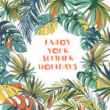 Tropical floral summer party poster with palm beach leaves. Colo Royalty Free Stock Photos
