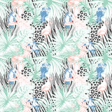 Tropical floral summer seamless color background pattern with pa Stock Images