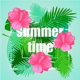 Tropical floral vector background. Royalty Free Stock Image