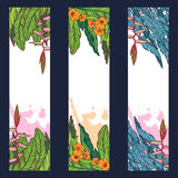 Tropical Floral vertical Badges. Set of 3 Tropical Floral vertical banners. Banana tree leaves, exotic flowers. sticker, flyer or banner design template. EPS10 Royalty Free Stock Photography