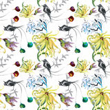 Tropical floral watercolor seamless pattern with colibris and flowers. Watercolor painting. Royalty Free Stock Image