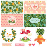 Tropical Floral Wedding Set Royalty Free Stock Photography