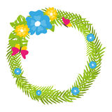 Tropical floral wreath with butterflies and blooms  vector. Tropical floral wreath with butterflies and blooms Stock Photos
