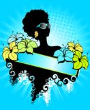 Tropical flower and African girl. Summer banner with tropical flower and African girl Stock Photos