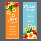 Tropical flower banner. Beautiful tropical flower make vertical banner design Royalty Free Stock Images