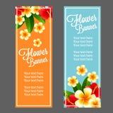 Tropical flower banner. Beautiful tropical flower make vertical banner design Stock Illustration